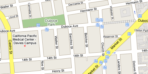 streep map of Duboce Triangle in San Francisco, showing 12 muni stops